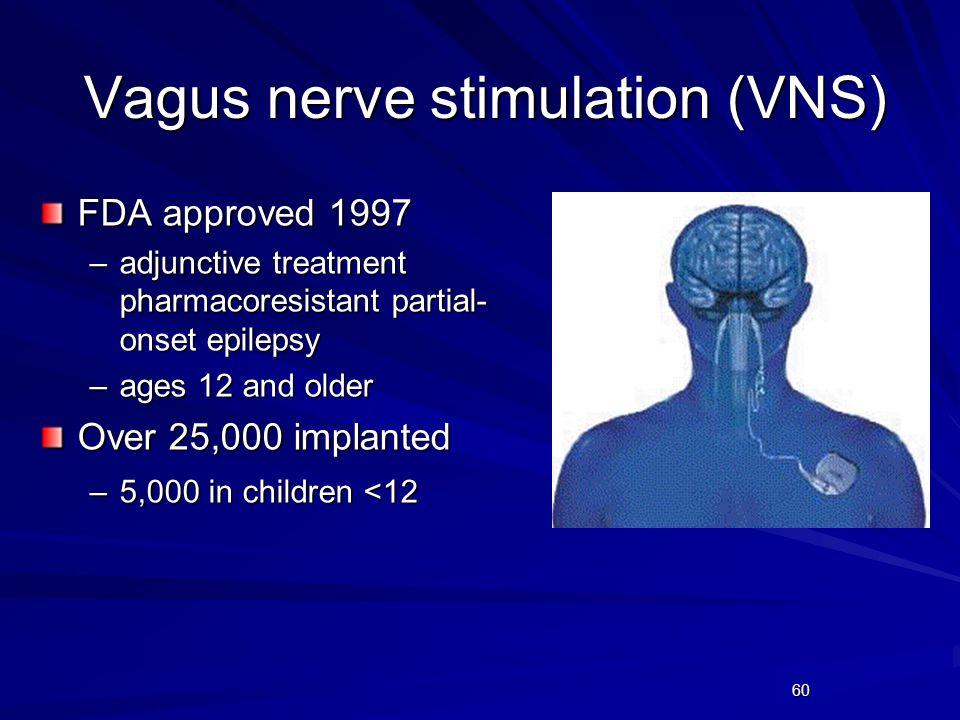 60 Vagus nerve stimulation (VNS) FDA approved 1997 –adjunctive treatment pharmacoresistant partial- onset epilepsy –ages 12 and older Over 25,000 impl