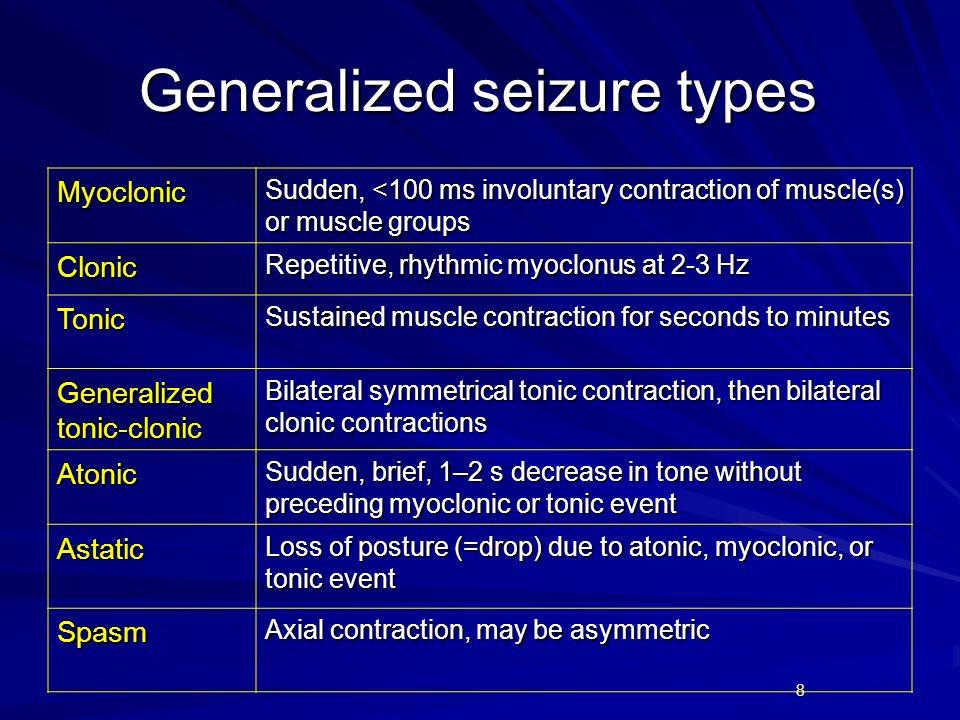 9 Generalized epilepsies Idiopathic generalized epilepsies Benign myoclonic epilepsy in infancy Epilepsy with myoclonic-astatic seizures Epilepsy with myoclonic absence seizures Childhood absence epilepsy IGE with variable phenotypes Juvenile absence, JME, epilepsy with GTC only Generalized epilepsies with febrile seizures plus Epileptic encephalopathies Syndromes of infancy Early myoclonic encephalopathy; Ohtahara, Dravet, West syndromes Lennox-Gastaut syndrome Landau-Kleffner syndrome Epilepsy with continuous spike waves in SW sleep