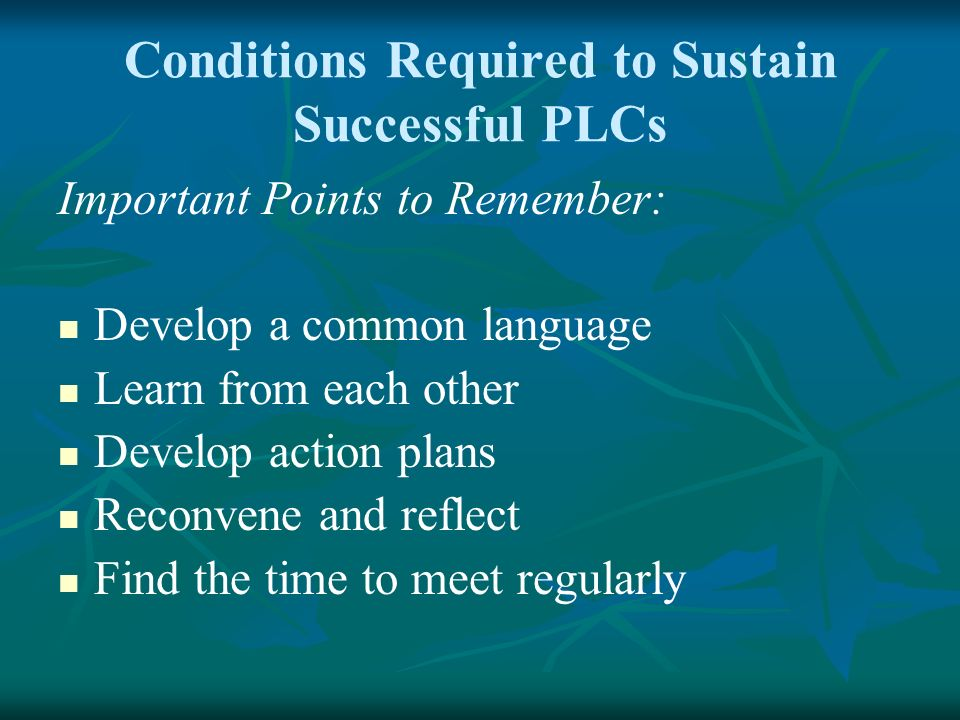 Conditions Required to Sustain Successful PLCs Important Points to Remember: Develop a common language Learn from each other Develop action plans Reco