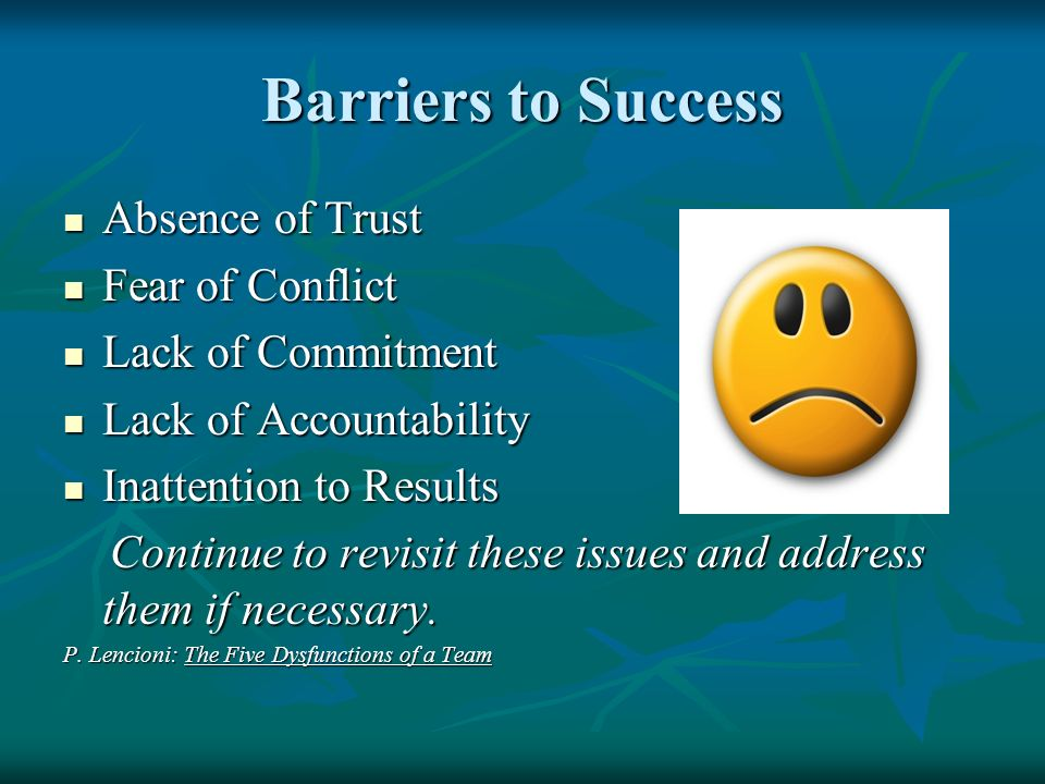 Barriers to Success Absence of Trust Absence of Trust Fear of Conflict Fear of Conflict Lack of Commitment Lack of Commitment Lack of Accountability L