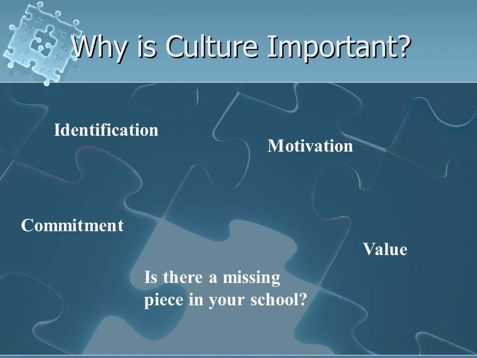 Why is Culture Important? Commitment Identification Motivation Value Is there a missing piece in your school?