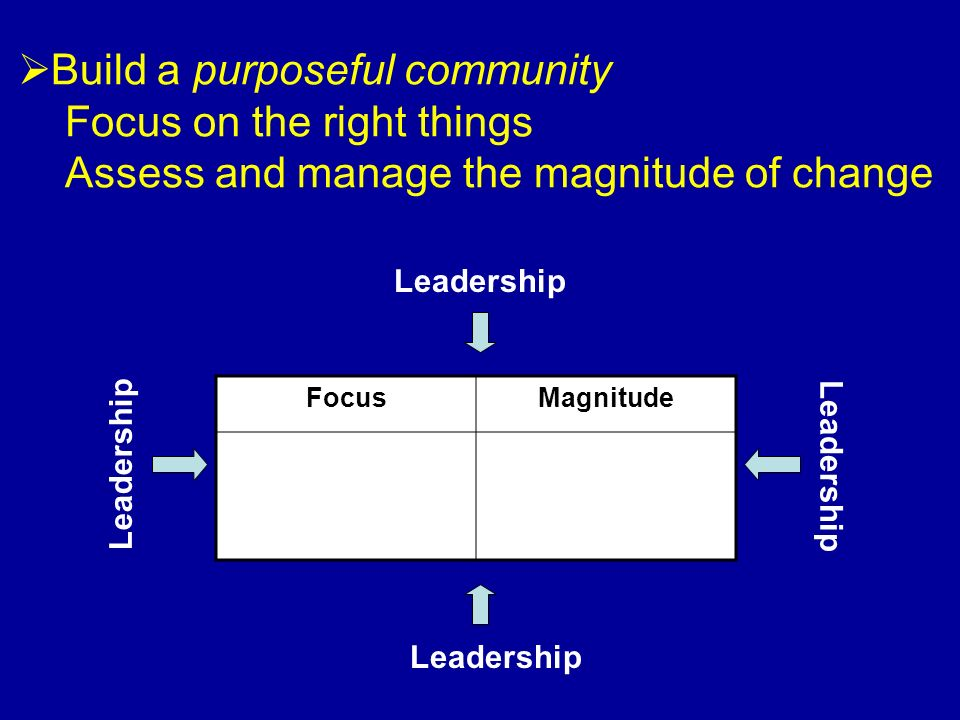Build a purposeful community Focus on the right things Assess and manage the magnitude of change Leadership FocusMagnitude