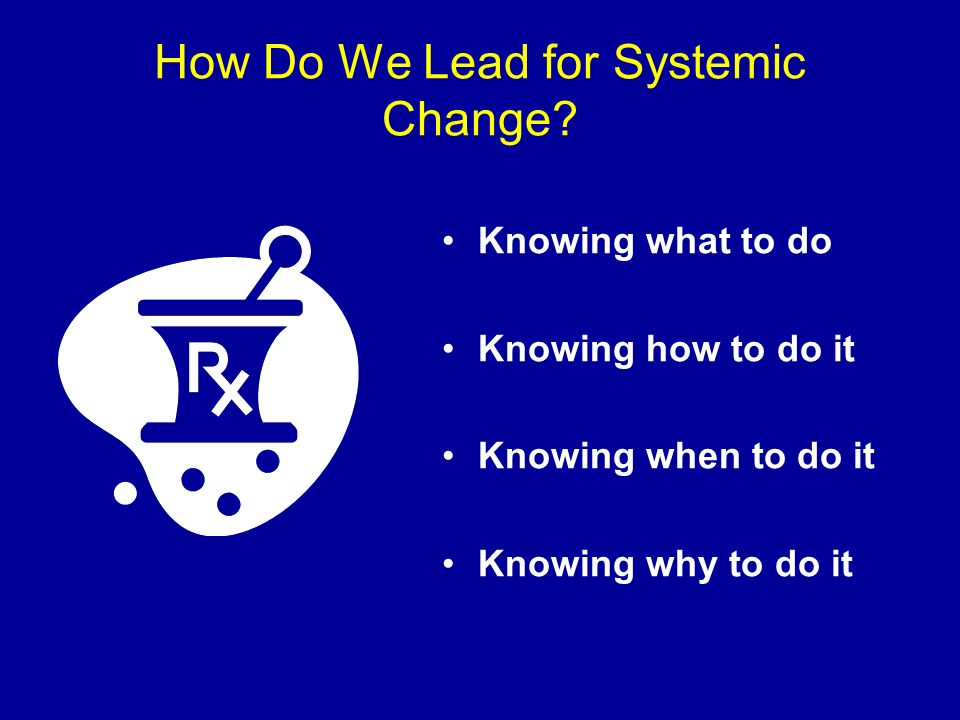 How Do We Lead for Systemic Change? Knowing what to do Knowing how to do it Knowing when to do it Knowing why to do it