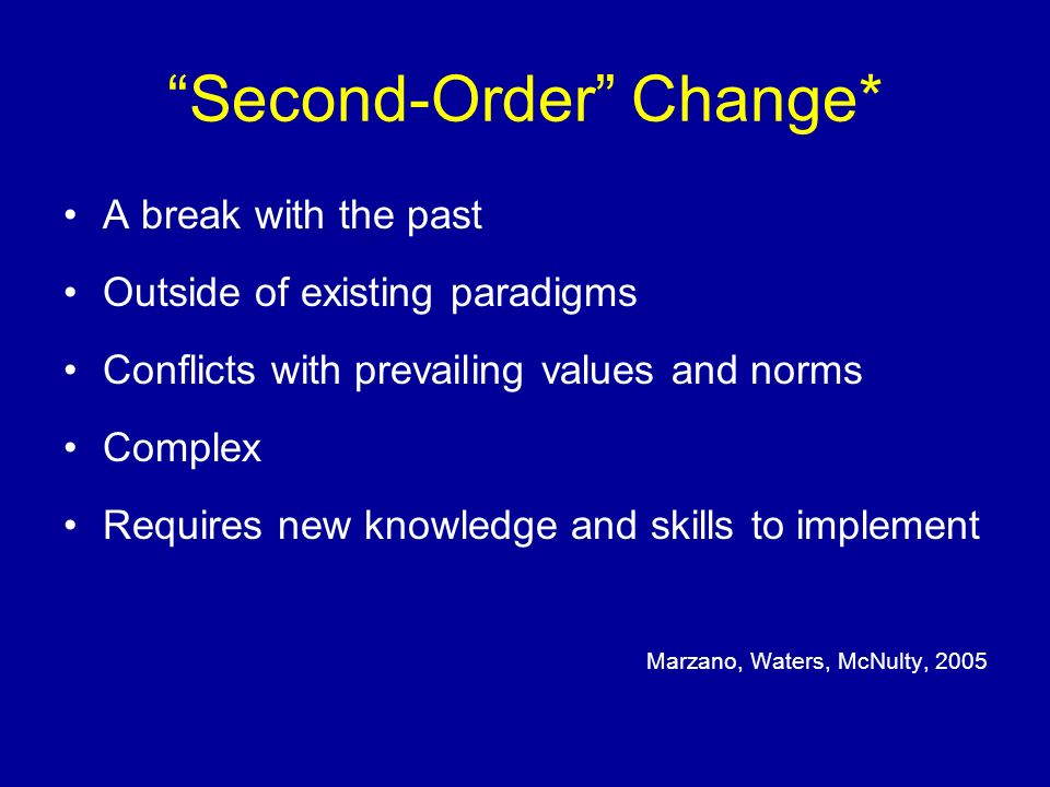 Second-Order Change* A break with the past Outside of existing paradigms Conflicts with prevailing values and norms Complex Requires new knowledge and