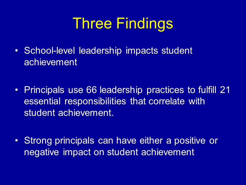 Three Findings School-level leadership impacts student achievement Principals use 66 leadership practices to fulfill 21 essential responsibilities tha