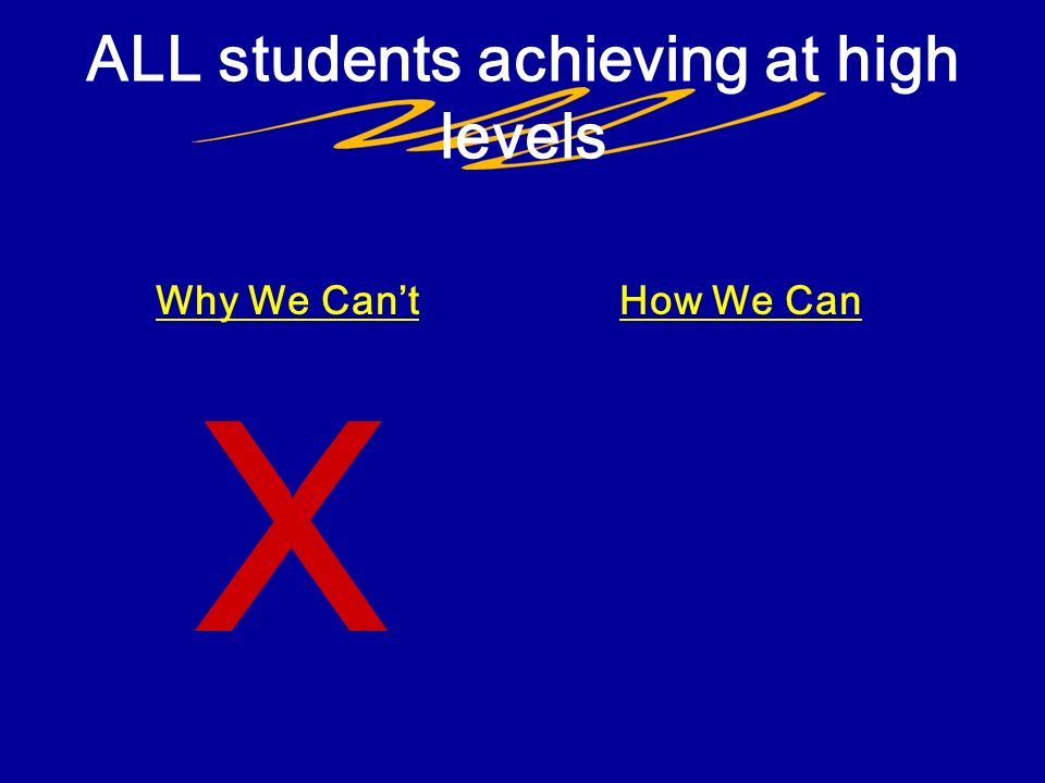 How We Can ALL students achieving at high levels Why We Cant X