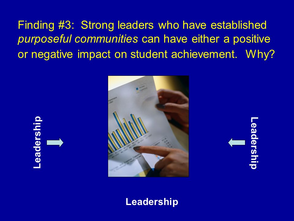 Finding #3: Strong leaders who have established purposeful communities can have either a positive or negative impact on student achievement. Why? Lead
