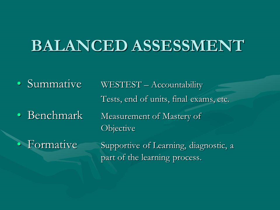BALANCED ASSESSMENT Summative WESTEST – AccountabilitySummative WESTEST – Accountability Tests, end of units, final exams, etc.