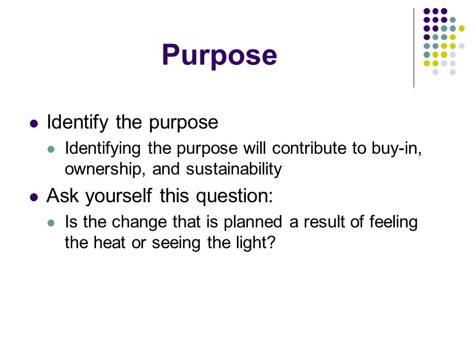 Purpose Identify the purpose Identifying the purpose will contribute to buy-in, ownership, and sustainability Ask yourself this question: Is the change that is planned a result of feeling the heat or seeing the light?