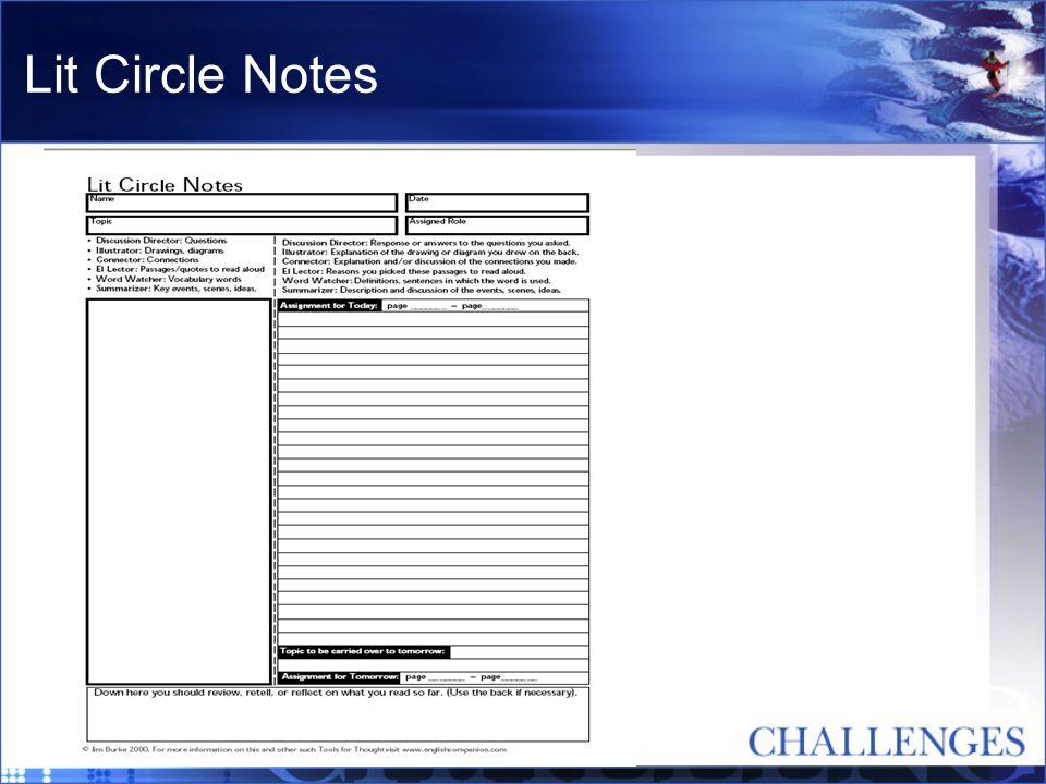Lit Circle Notes