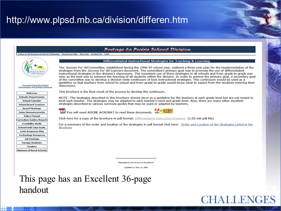 http://www.plpsd.mb.ca/division/differen.htm This page has an Excellent 36-page handout