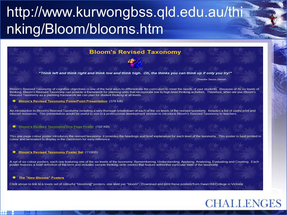 http://www.kurwongbss.qld.edu.au/thi nking/Bloom/blooms.htm