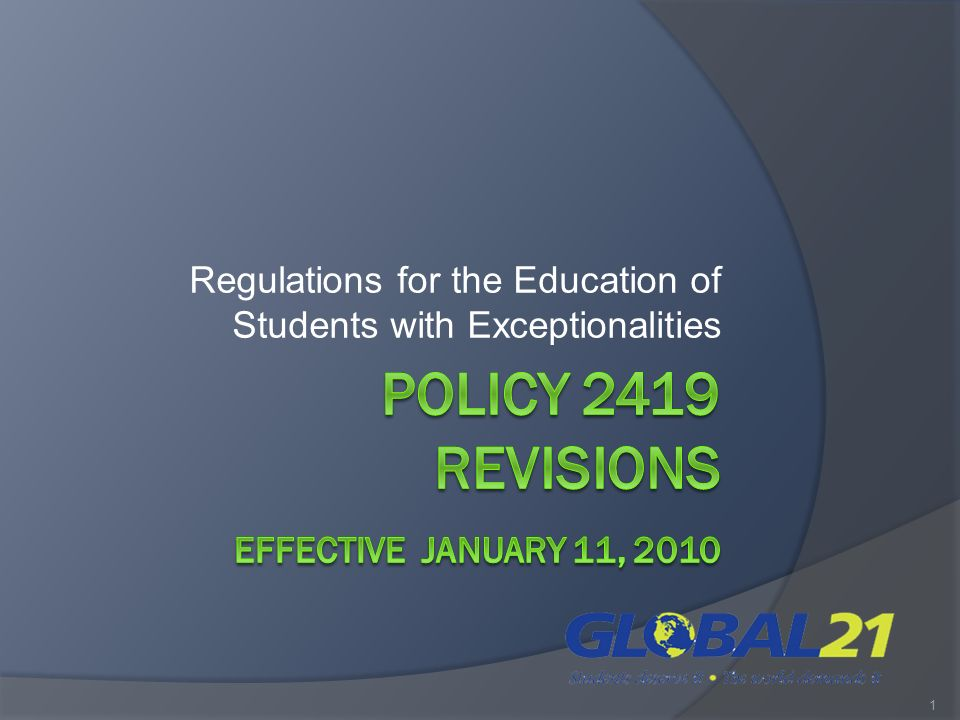 Regulations for the Education of Students with Exceptionalities 1