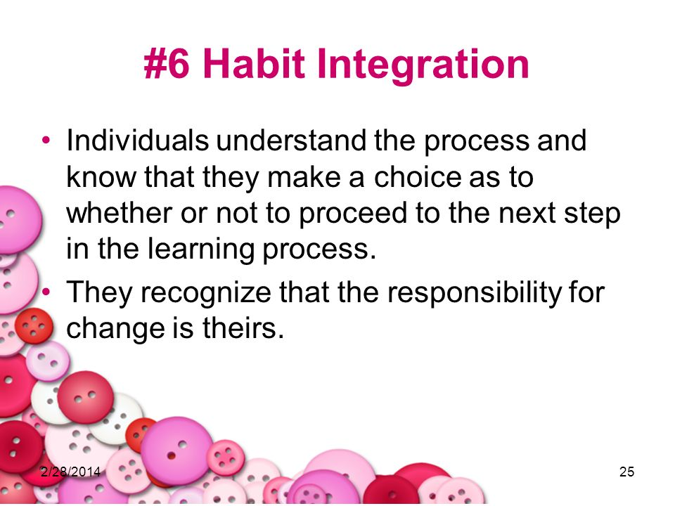 2/28/201425 #6 Habit Integration Individuals understand the process and know that they make a choice as to whether or not to proceed to the next step