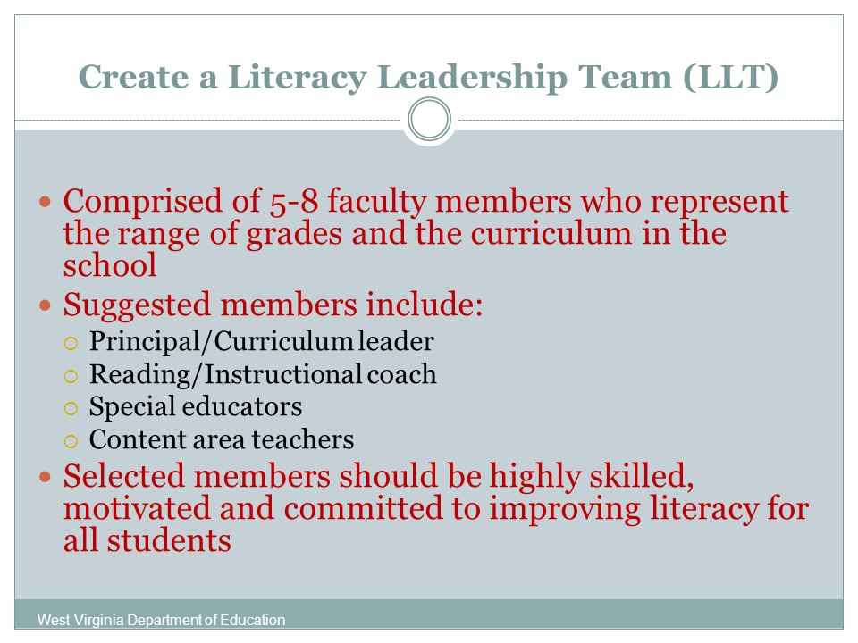 Create a Literacy Leadership Team (LLT) Comprised of 5-8 faculty members who represent the range of grades and the curriculum in the school Suggested members include: Principal/Curriculum leader Reading/Instructional coach Special educators Content area teachers Selected members should be highly skilled, motivated and committed to improving literacy for all students West Virginia Department of Education
