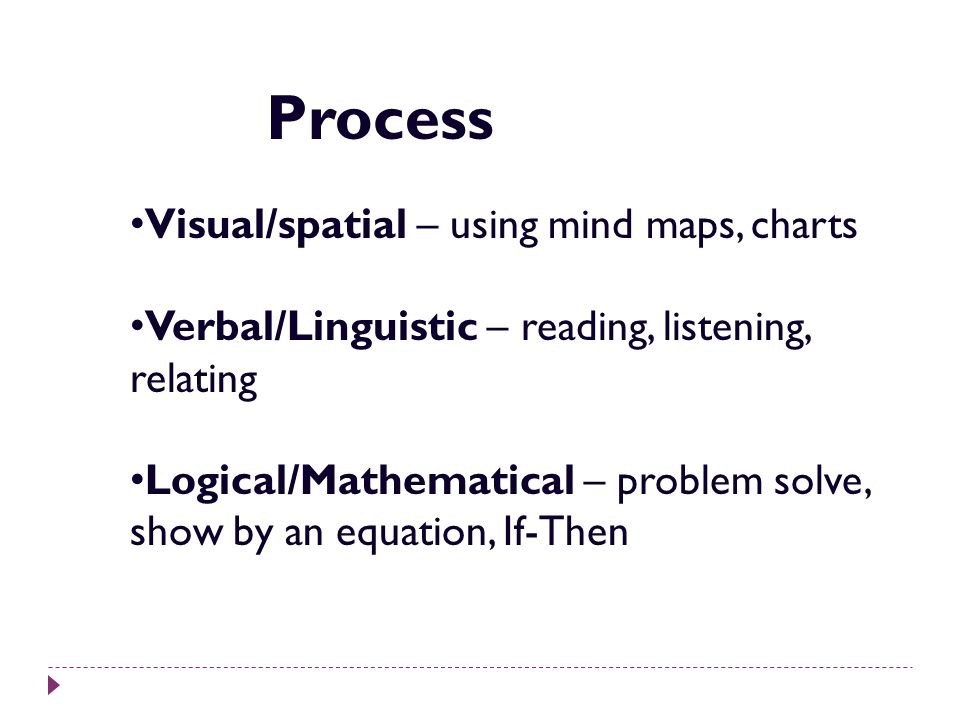 Visual/spatial – using mind maps, charts Verbal/Linguistic – reading, listening, relating Logical/Mathematical – problem solve, show by an equation, I