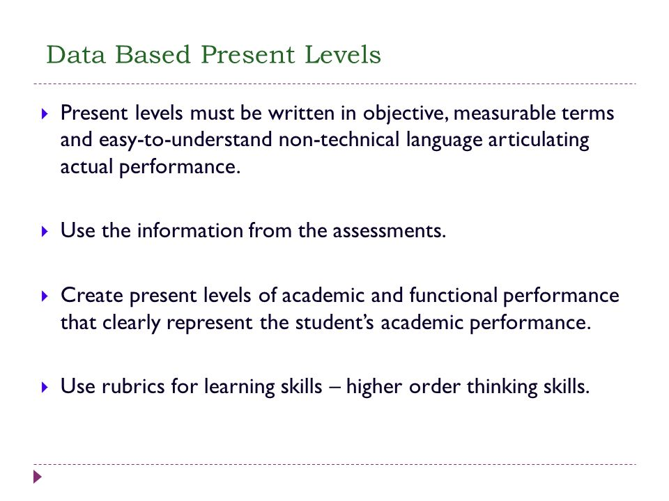 Data Based Present Levels Present levels must be written in objective, measurable terms and easy-to-understand non-technical language articulating act