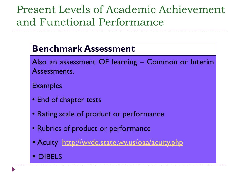 Also an assessment OF learning – Common or Interim Assessments. Examples End of chapter tests Rating scale of product or performance Rubrics of produc