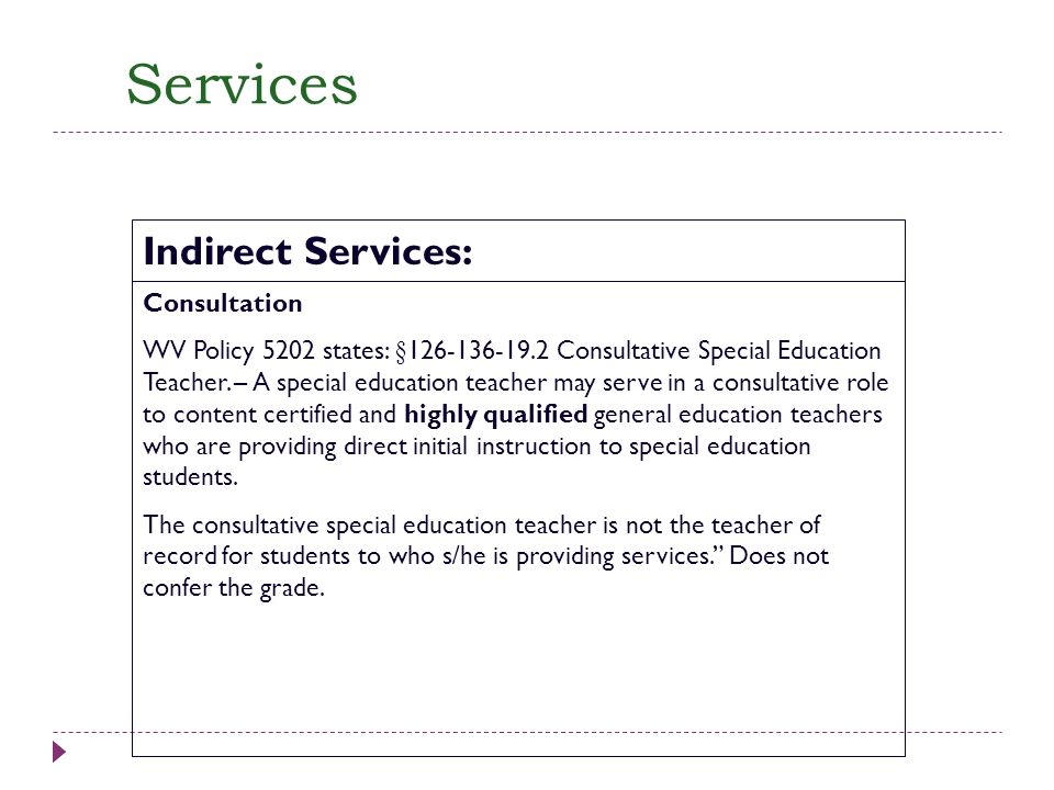 Services Consultation WV Policy 5202 states: §126-136-19.2 Consultative Special Education Teacher. – A special education teacher may serve in a consul