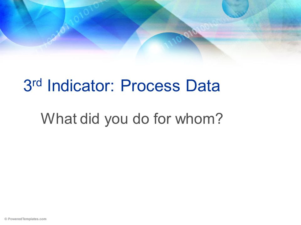 3 rd Indicator: Process Data What did you do for whom?