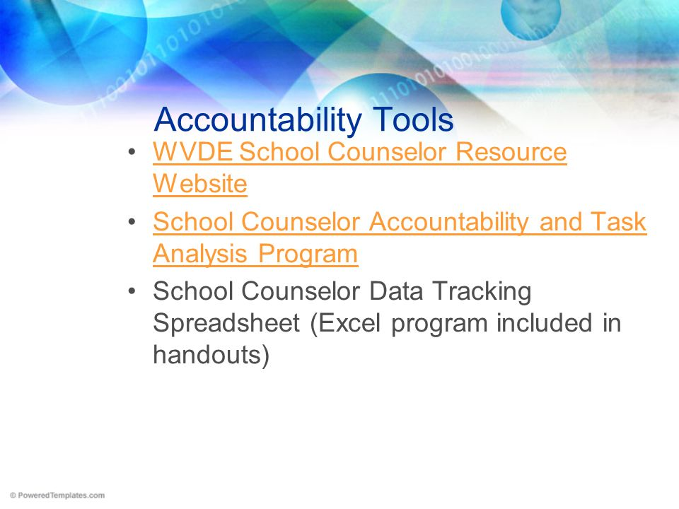 Accountability Tools WVDE School Counselor Resource WebsiteWVDE School Counselor Resource Website School Counselor Accountability and Task Analysis Pr