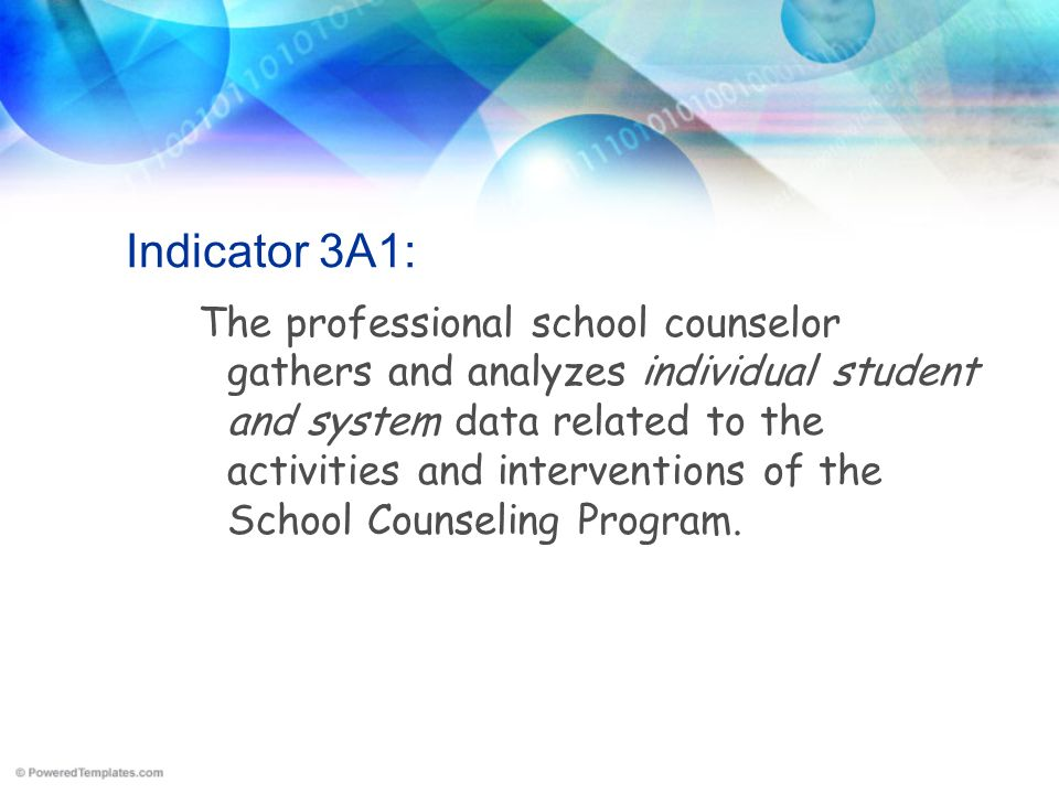 Indicator 3A1: The professional school counselor gathers and analyzes individual student and system data related to the activities and interventions o