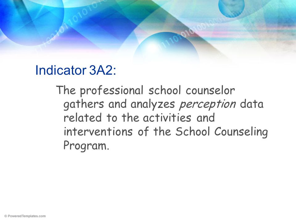 Indicator 3A2: The professional school counselor gathers and analyzes perception data related to the activities and interventions of the School Counse
