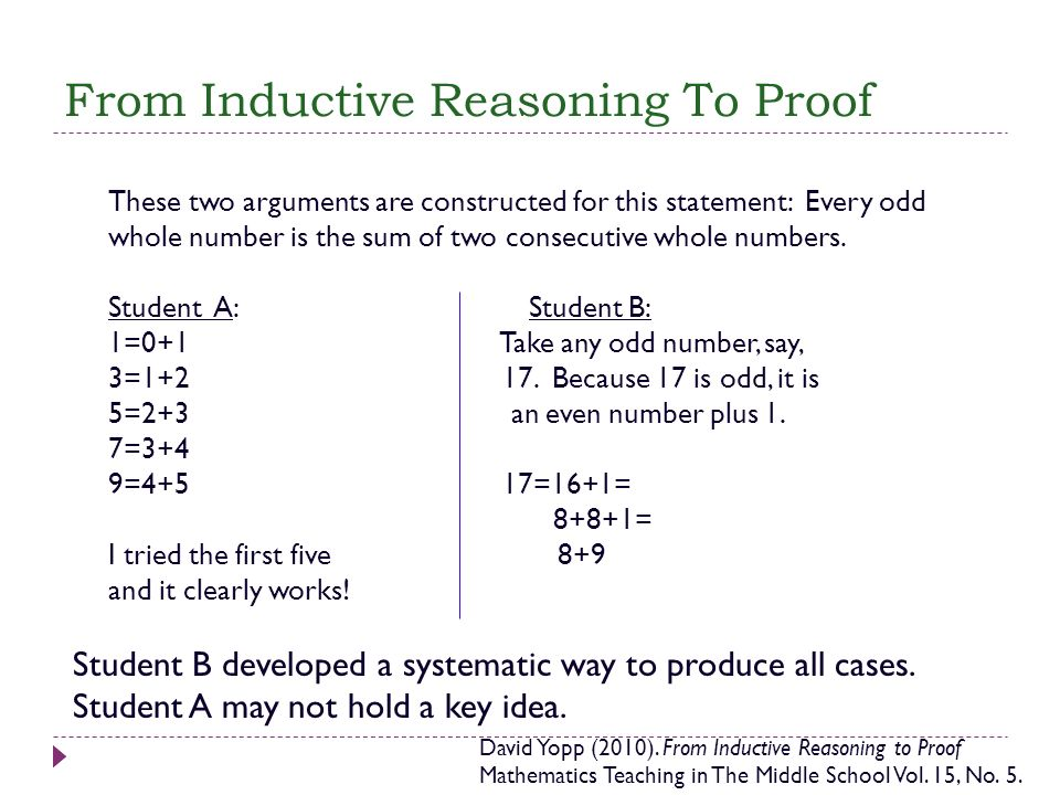 From Inductive Reasoning To Proof These two arguments are constructed for this statement: Every odd whole number is the sum of two consecutive whole n
