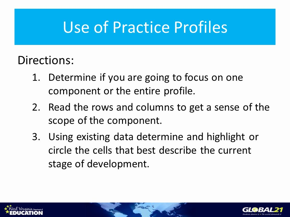 Use of Practice Profiles Directions: 1.Determine if you are going to focus on one component or the entire profile. 2.Read the rows and columns to get