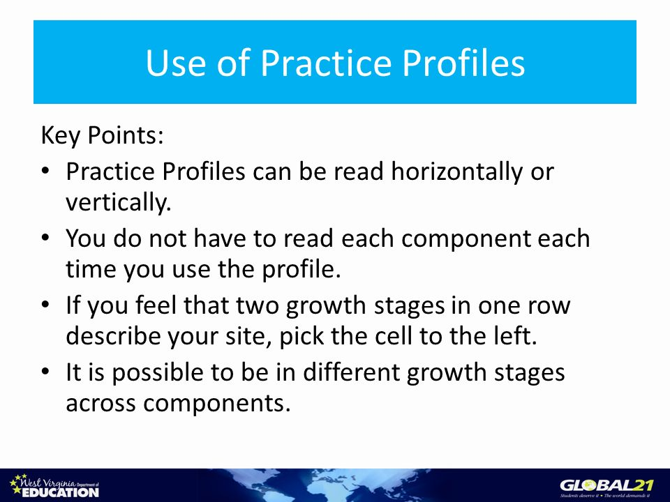 Use of Practice Profiles Key Points: Practice Profiles can be read horizontally or vertically.
