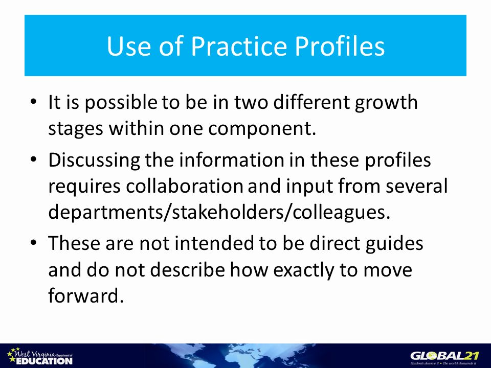 It is possible to be in two different growth stages within one component. Discussing the information in these profiles requires collaboration and inpu
