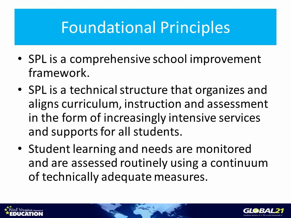 Foundational Principles SPL is a comprehensive school improvement framework. SPL is a technical structure that organizes and aligns curriculum, instru