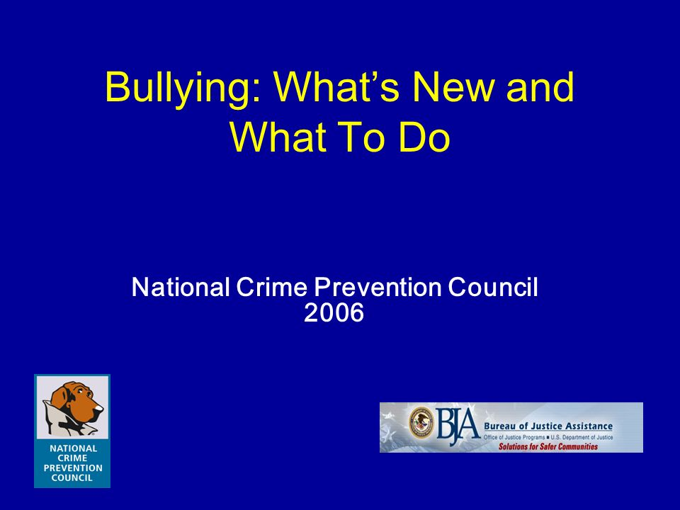 Bullying: Whats New and What To Do National Crime Prevention Council 2006