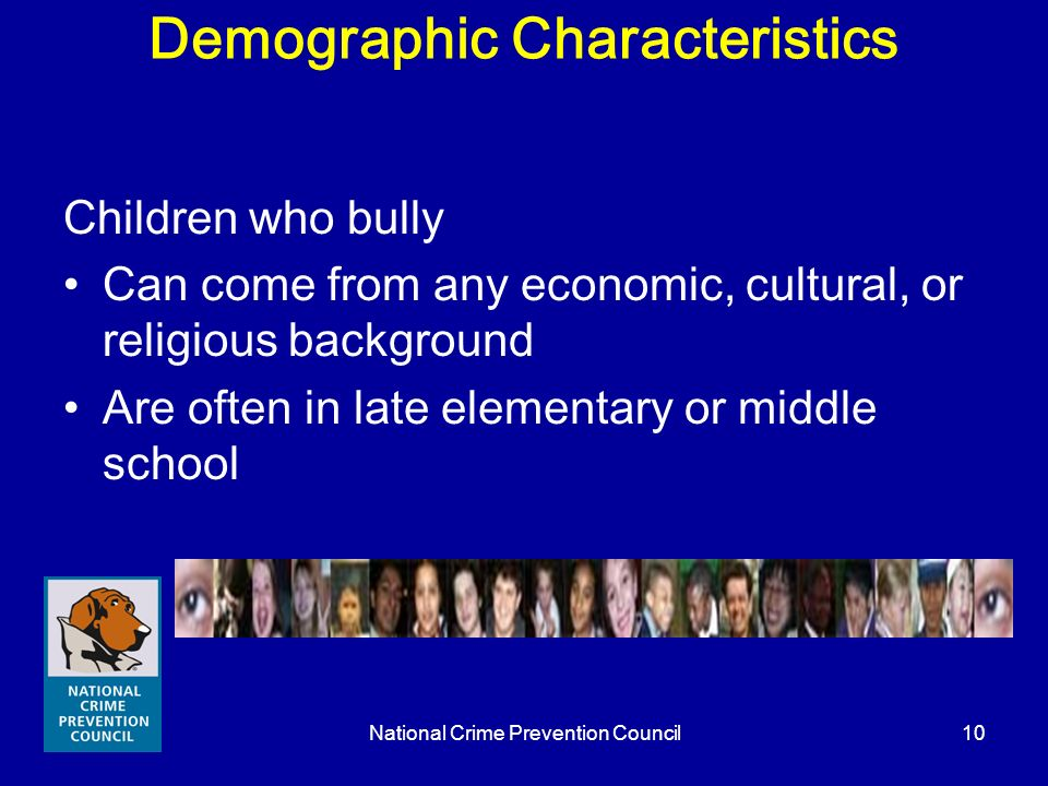 National Crime Prevention Council10 Demographic Characteristics Children who bully Can come from any economic, cultural, or religious background Are o
