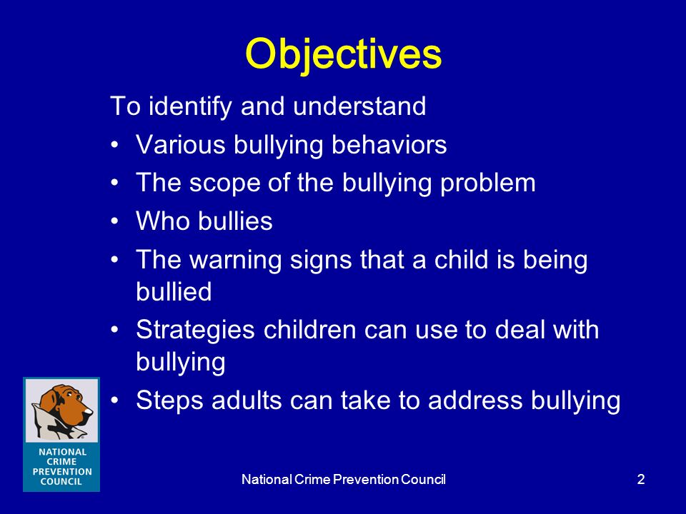 National Crime Prevention Council2 Objectives To identify and understand Various bullying behaviors The scope of the bullying problem Who bullies The