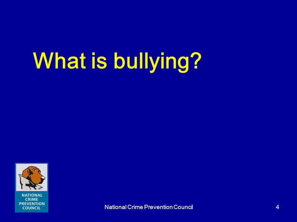 National Crime Prevention Council4 What is bullying?