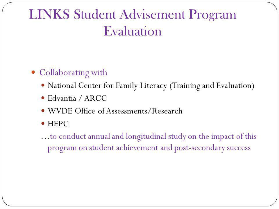 LINKS Student Advisement Program Evaluation Collaborating with National Center for Family Literacy (Training and Evaluation) Edvantia / ARCC WVDE Office of Assessments/Research HEPC …to conduct annual and longitudinal study on the impact of this program on student achievement and post-secondary success