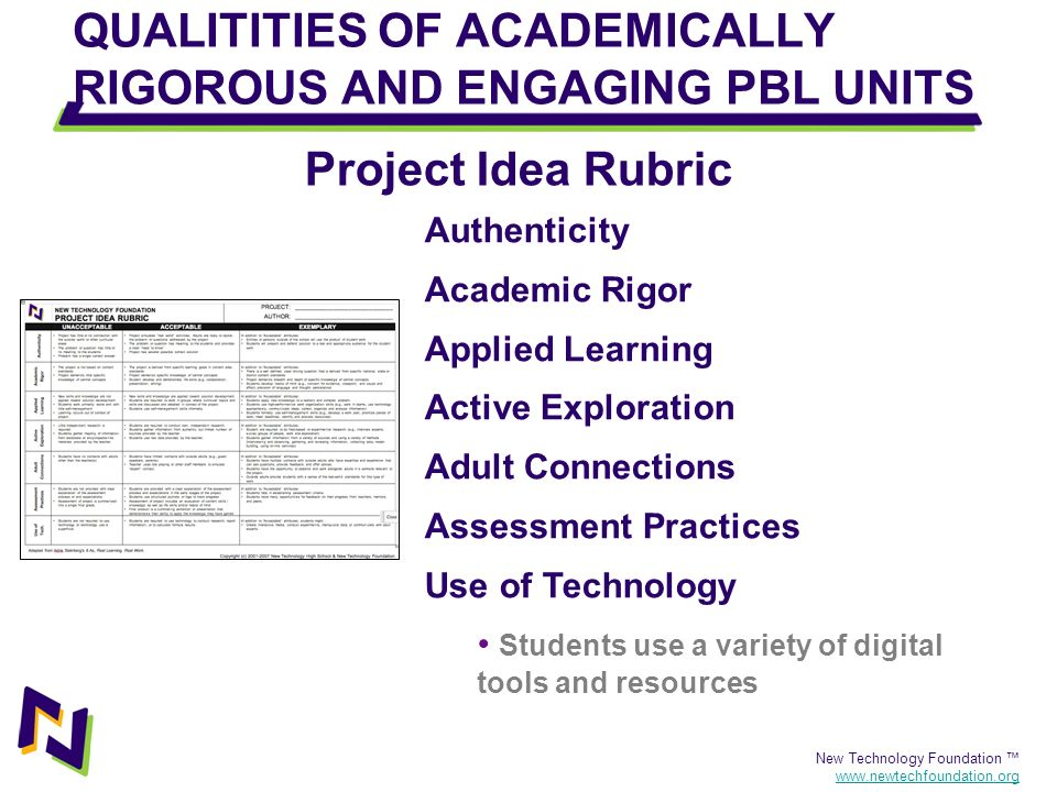 New Technology Foundation www.newtechfoundation.org QUALITITIES OF ACADEMICALLY RIGOROUS AND ENGAGING PBL UNITS Authenticity Academic Rigor Applied Le