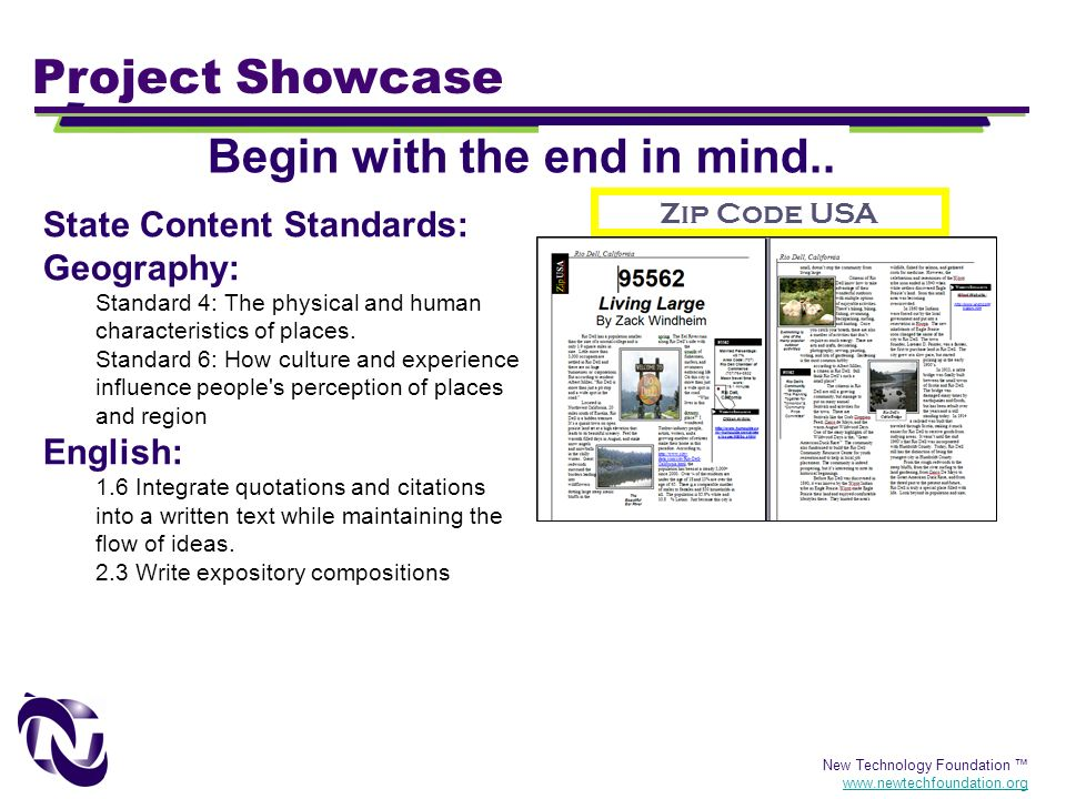 New Technology Foundation www.newtechfoundation.org Project Showcase Zip Code USA Begin with the end in mind.. State Content Standards: Geography: Sta