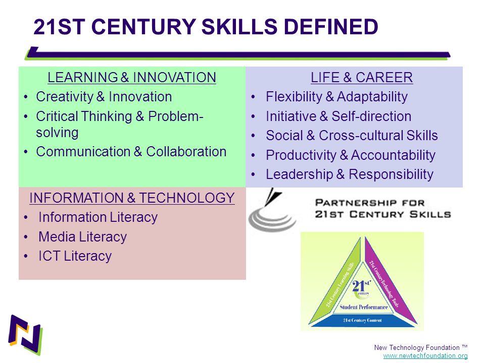 New Technology Foundation www.newtechfoundation.org 21ST CENTURY SKILLS DEFINED LEARNING & INNOVATION Creativity & Innovation Critical Thinking & Prob