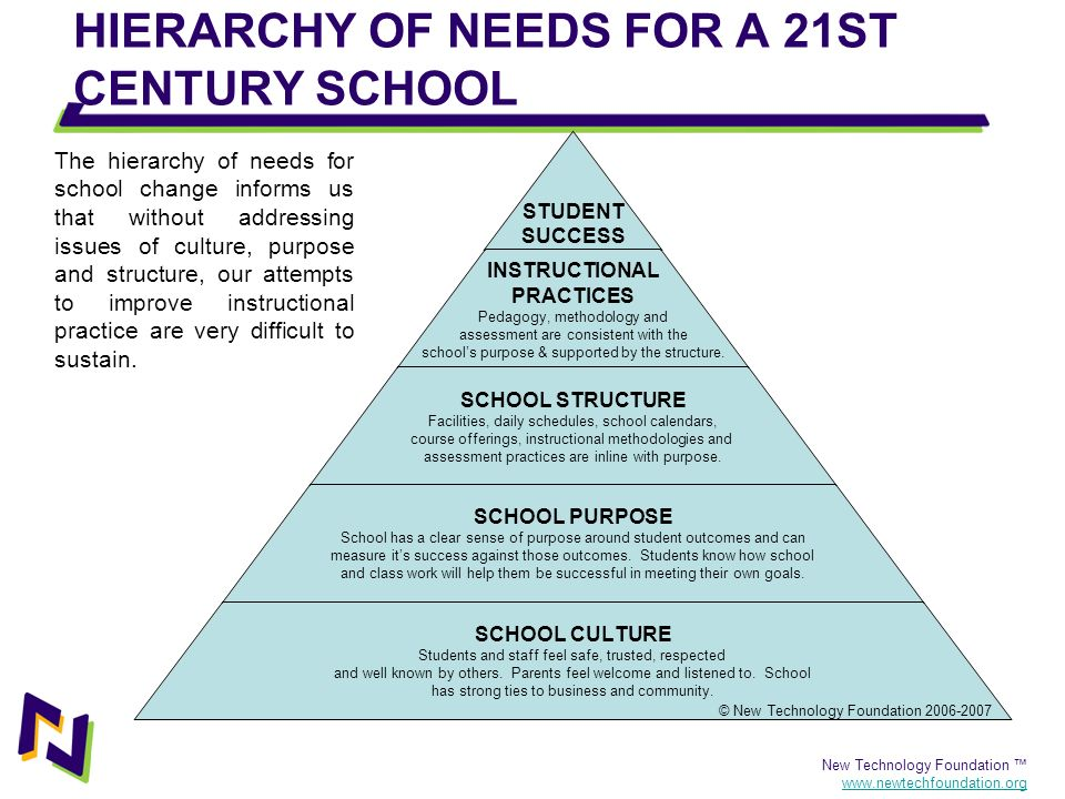 New Technology Foundation www.newtechfoundation.org HIERARCHY OF NEEDS FOR A 21ST CENTURY SCHOOL STUDENT SUCCESS INSTRUCTIONAL PRACTICES Pedagogy, met