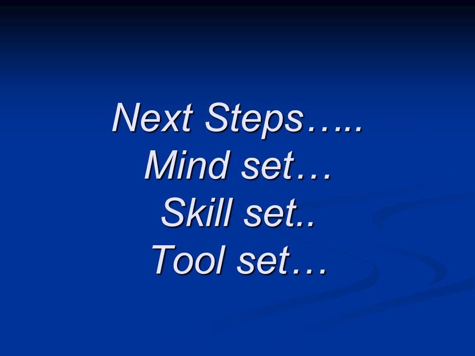 Next Steps….. Mind set… Skill set.. Tool set…