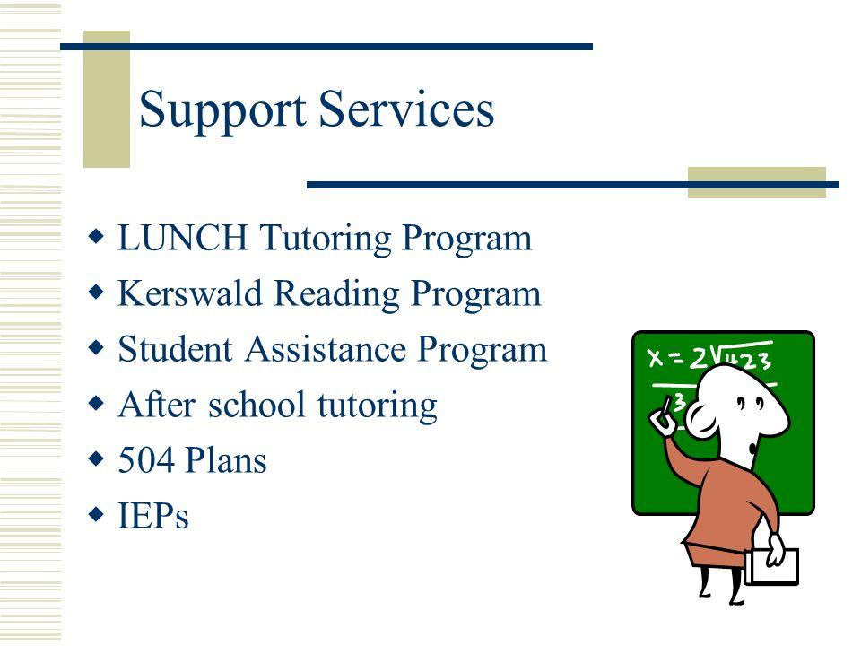 Support Services LUNCH Tutoring Program Kerswald Reading Program Student Assistance Program After school tutoring 504 Plans IEPs
