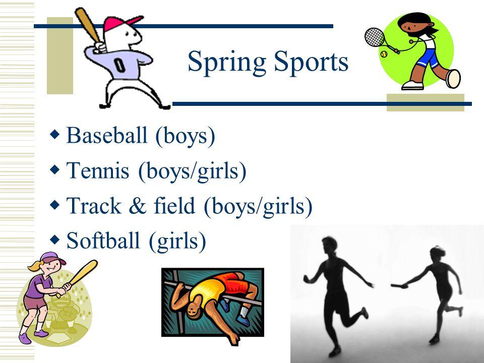 Spring Sports Baseball (boys) Tennis (boys/girls) Track & field (boys/girls) Softball (girls)