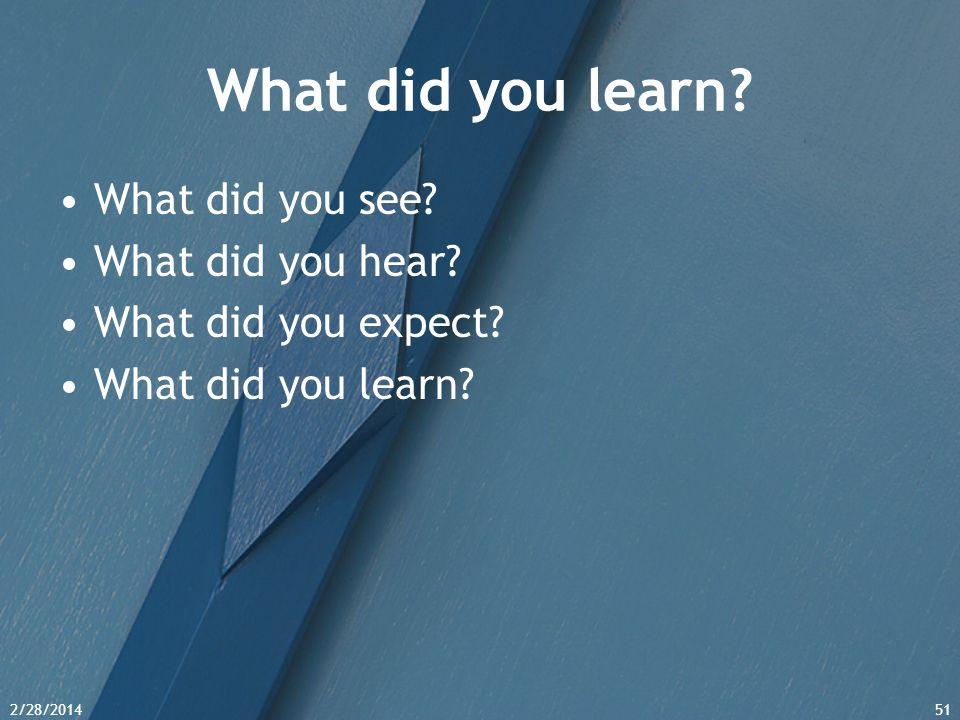 2/28/201451 What did you learn? What did you see? What did you hear? What did you expect? What did you learn?