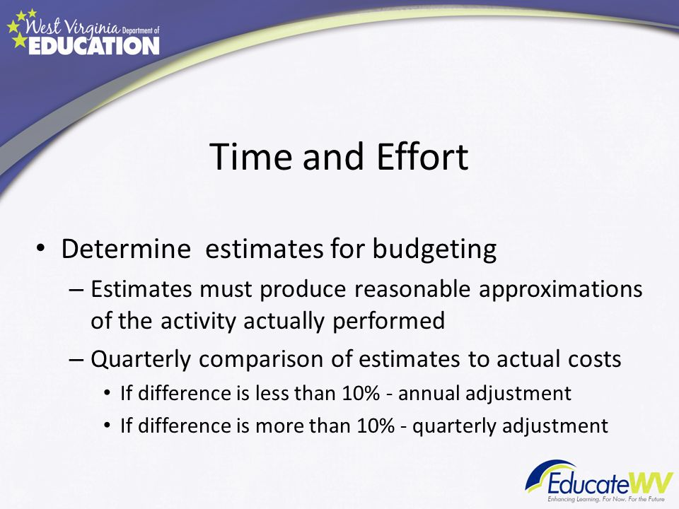 Time and Effort Determine estimates for budgeting – Estimates must produce reasonable approximations of the activity actually performed – Quarterly comparison of estimates to actual costs If difference is less than 10% - annual adjustment If difference is more than 10% - quarterly adjustment