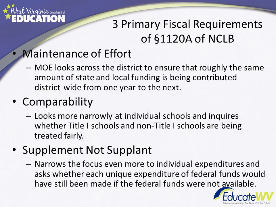 3 Primary Fiscal Requirements of §1120A of NCLB Maintenance of Effort – MOE looks across the district to ensure that roughly the same amount of state