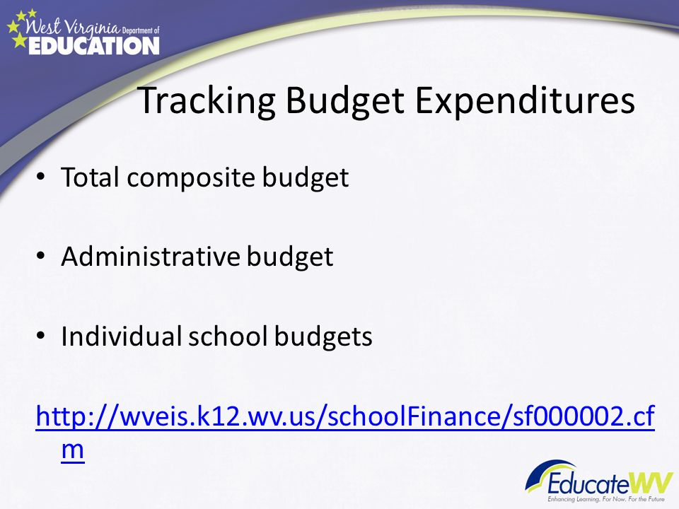 Tracking Budget Expenditures Total composite budget Administrative budget Individual school budgets http://wveis.k12.wv.us/schoolFinance/sf000002.cf m
