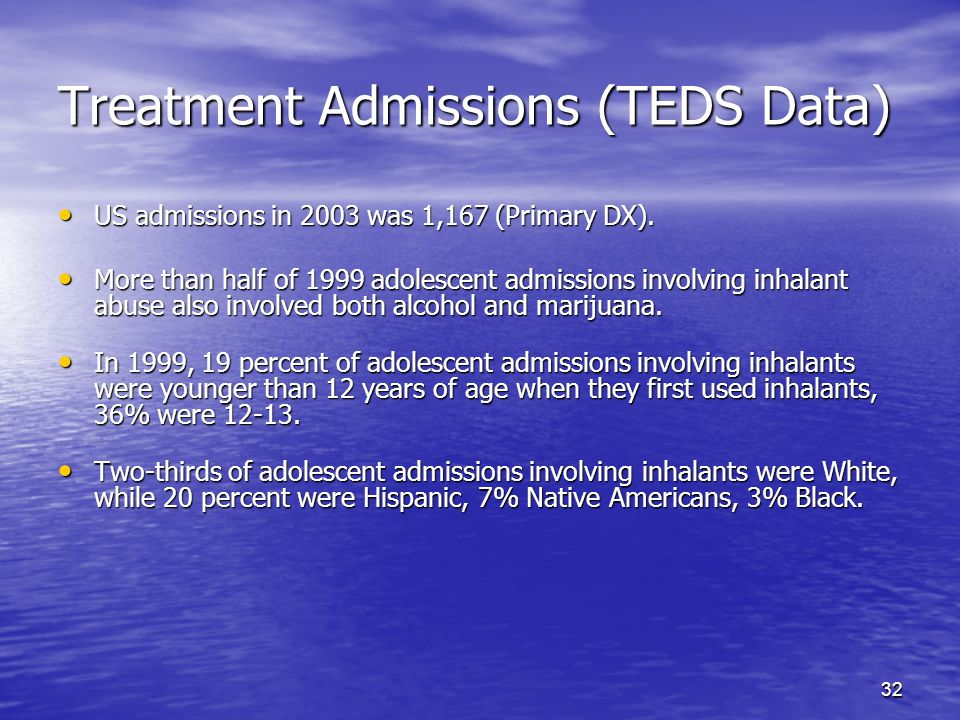 32 Treatment Admissions (TEDS Data) US admissions in 2003 was 1,167 (Primary DX). US admissions in 2003 was 1,167 (Primary DX). More than half of 1999