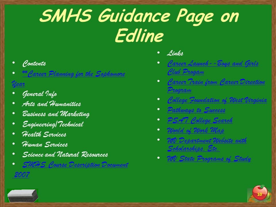 SMHS Guidance Page on Edline Contents **Career Planning for the Sophomore Year General Info Arts and Humanities Business and Marketing Engineering/Tec